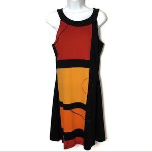Joseph Ribkoff Dress Sz 8 Orange Red Black